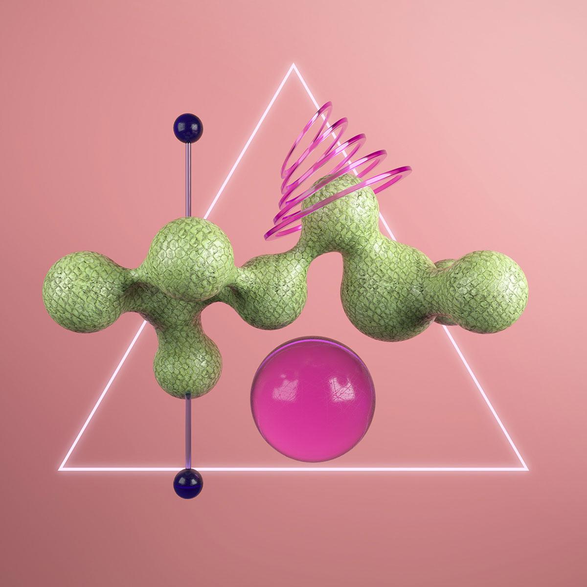 Πράσινο κομμάτι γλυπτό με ροζ στοιχεία.