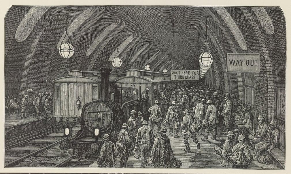 Interiørgravering av Gustave Doré jernbanestasjon