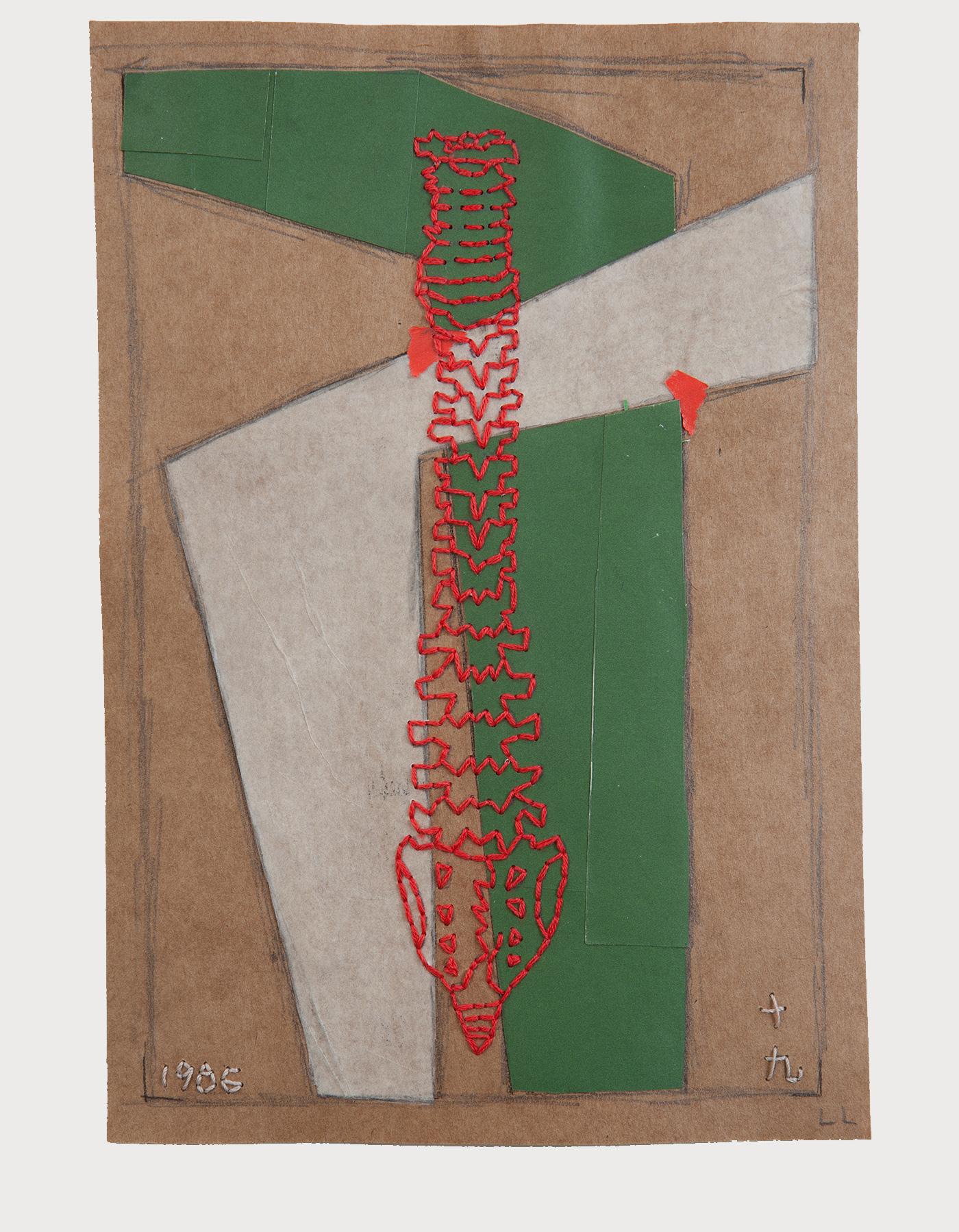 कलाकार लुसी लियू द्वारा हरे और सफेद कागज के टुकड़े के साथ बनाई गई कलाकृति