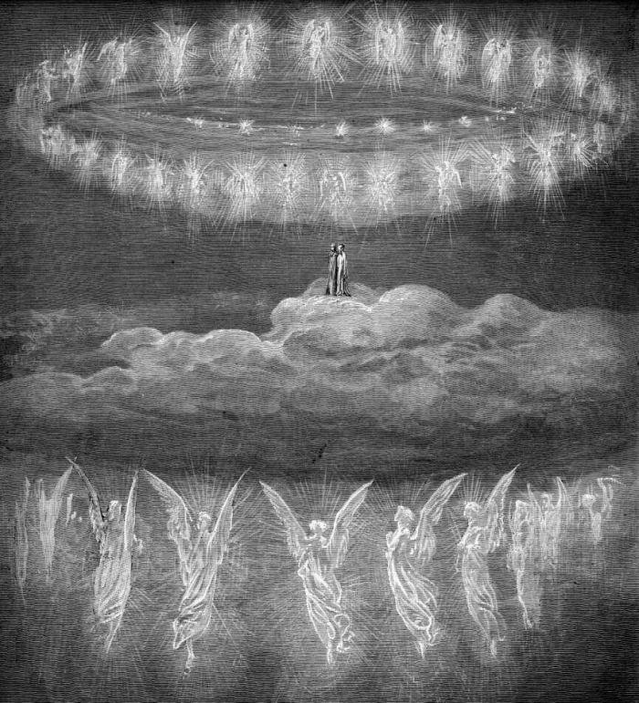 Gravering av engler av Gustave Doré