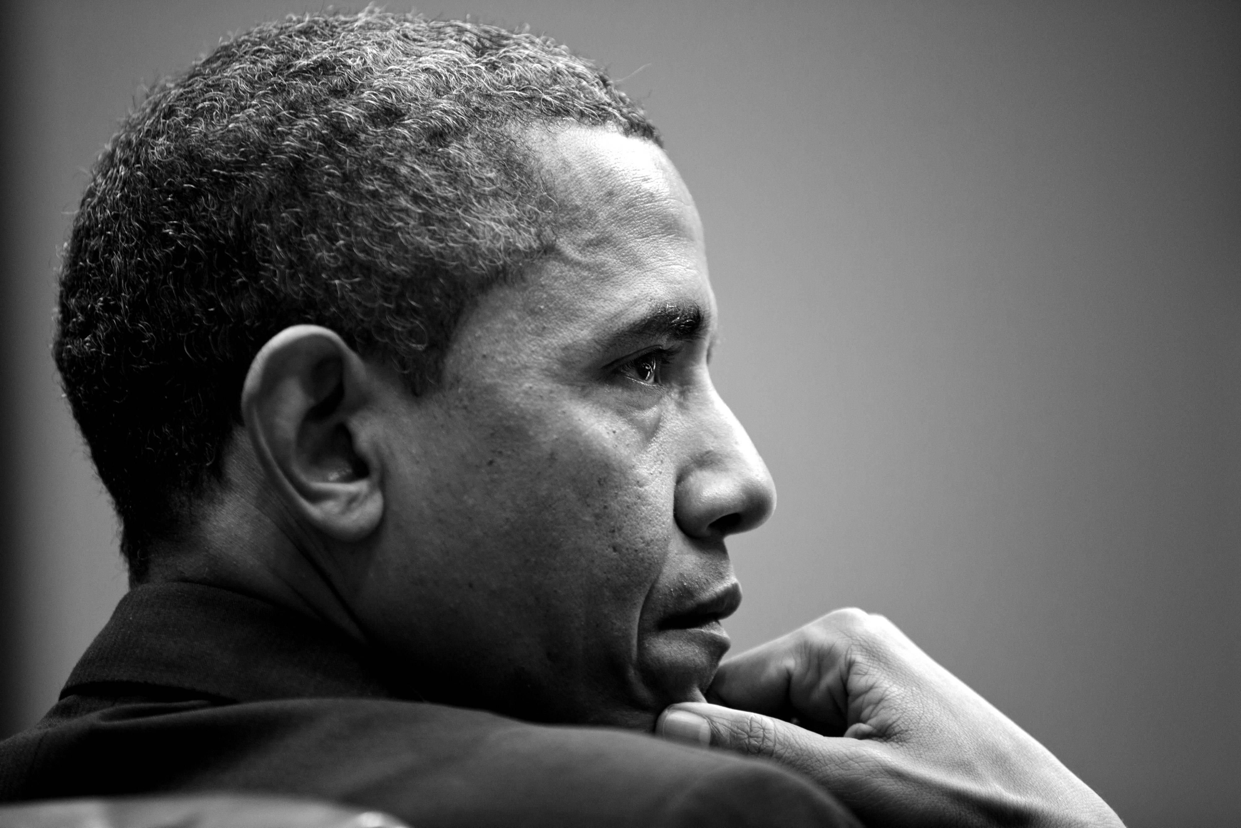 Svart og hvitt portrett av Barack Obama