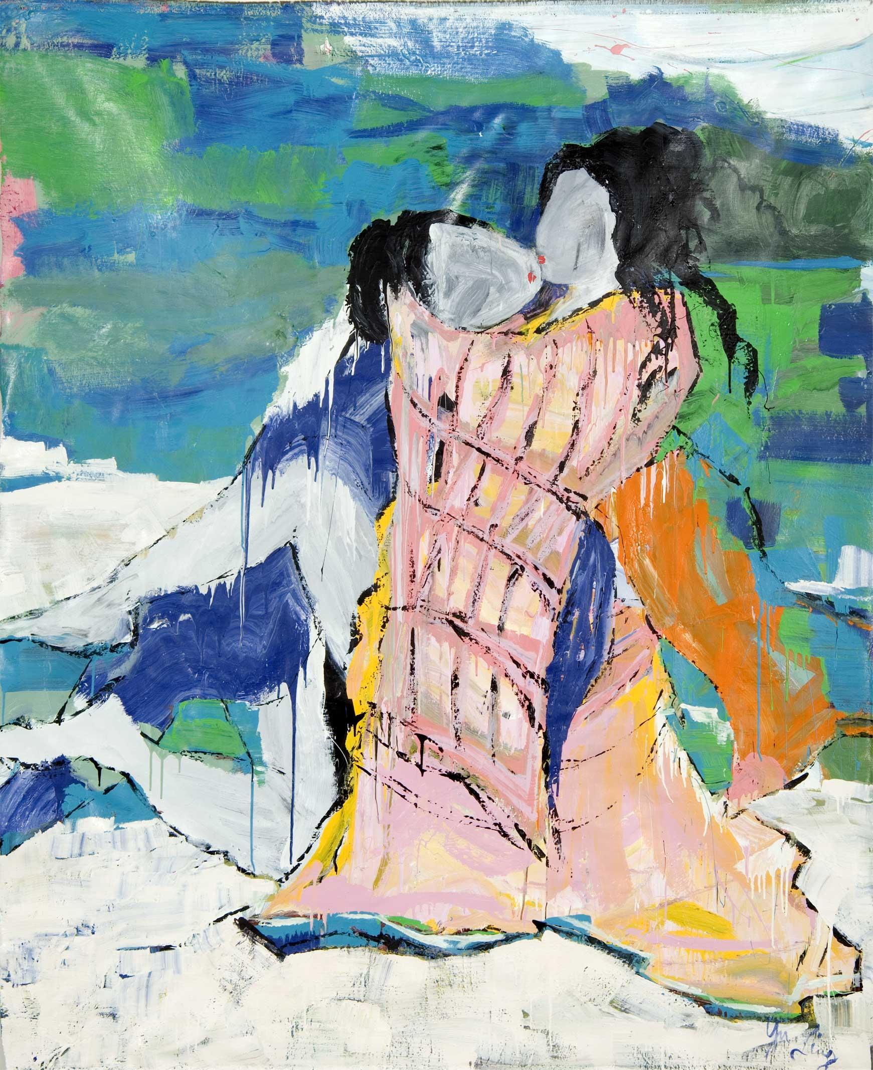 कलाकार लुसी लियू द्वारा बनाई गई जापानी महिला और पुरुष की पेंटिंग