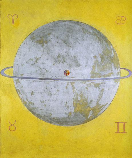 Pintura de darte abstracto de planeta con fondo amarillo
