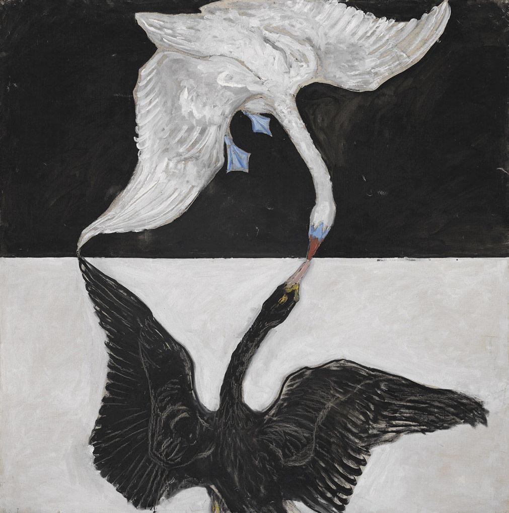 Pintura de dos cisnes en blanco y negro