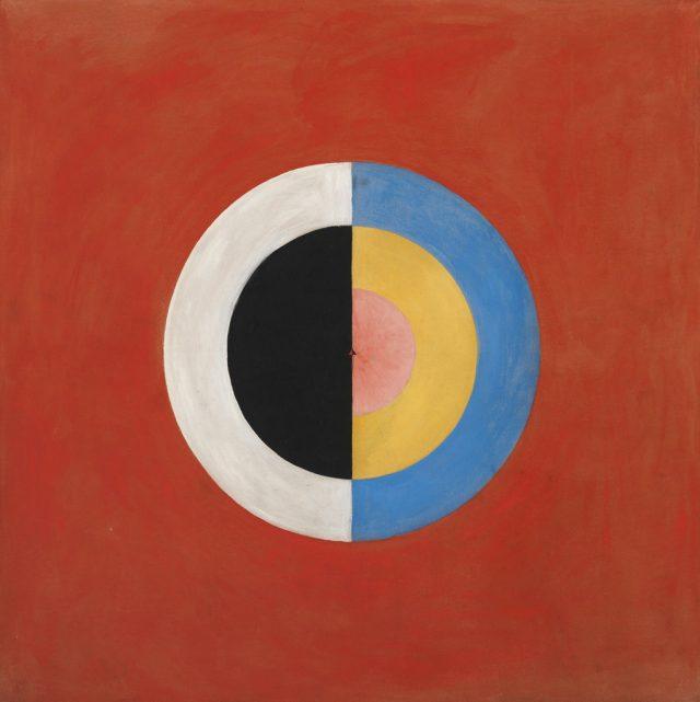 Obra de arte abstracto rde formas ciirculares y fondo rojo.