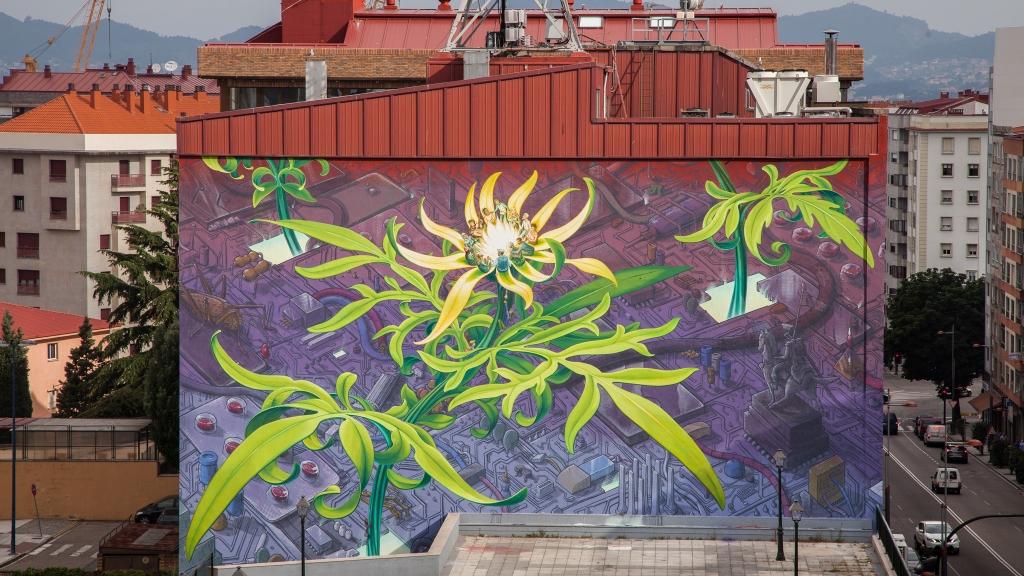 Mural av gule blomster av kunstneren Mona Caron