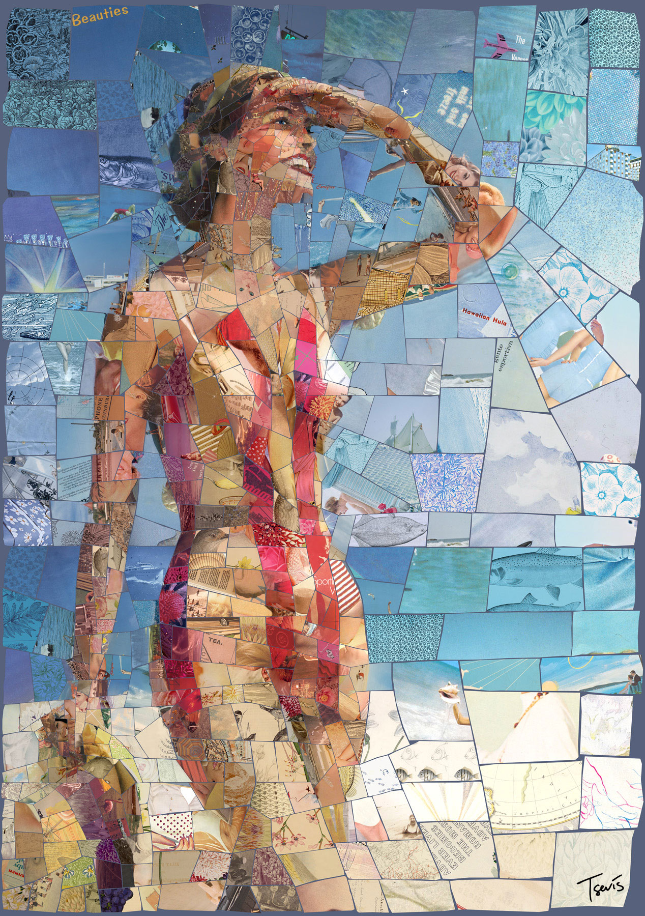 Immagine della ragazza in bikini realizzato con mosaici.