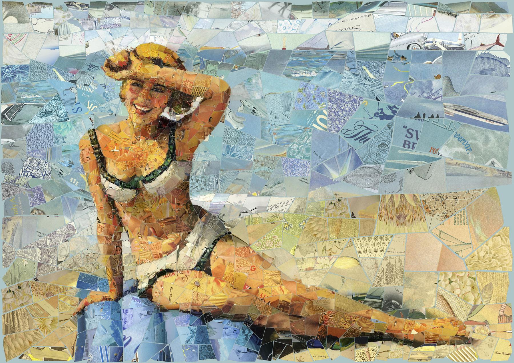 Immagine della ragazza in bikini realizzata con i mosaici dell'artista Charis Tsevis.