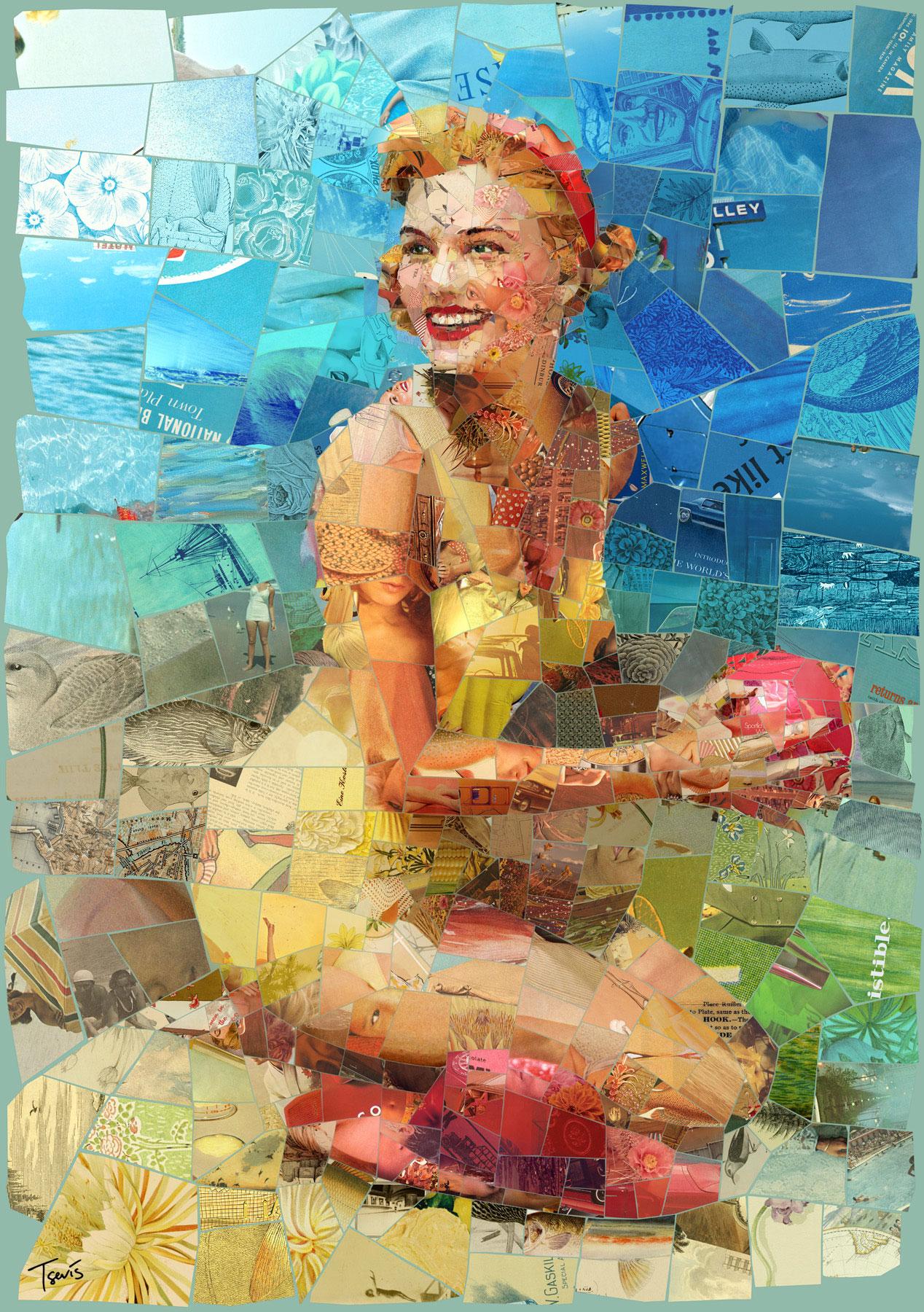 Immagine di donna in abito giallo realizzato con frammenti di mosaico dell'artista Charis Tsevis.