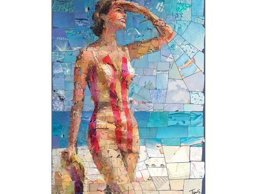 Kvinne i gul og rød bikini med hue i hånd laget med mosaikk av kunstner Charis Tsevis.