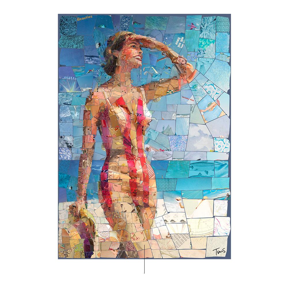 Mujer en bikini amarillo y rojo con sombrero en mano hecho con mosaicos por el artista Charis Tsevis.