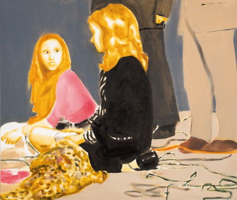 Ζωγραφική δύο κοριτσιών κοιτάζοντας ο ένας τον άλλο.