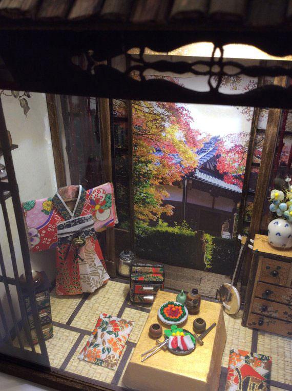 Aspecto de habitación japonesa de casa miniatura.
