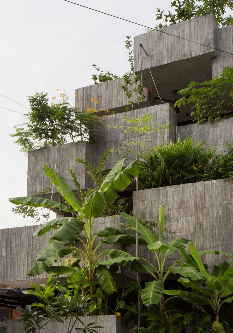 Μπαλκόνια στέγασης με φυτά.