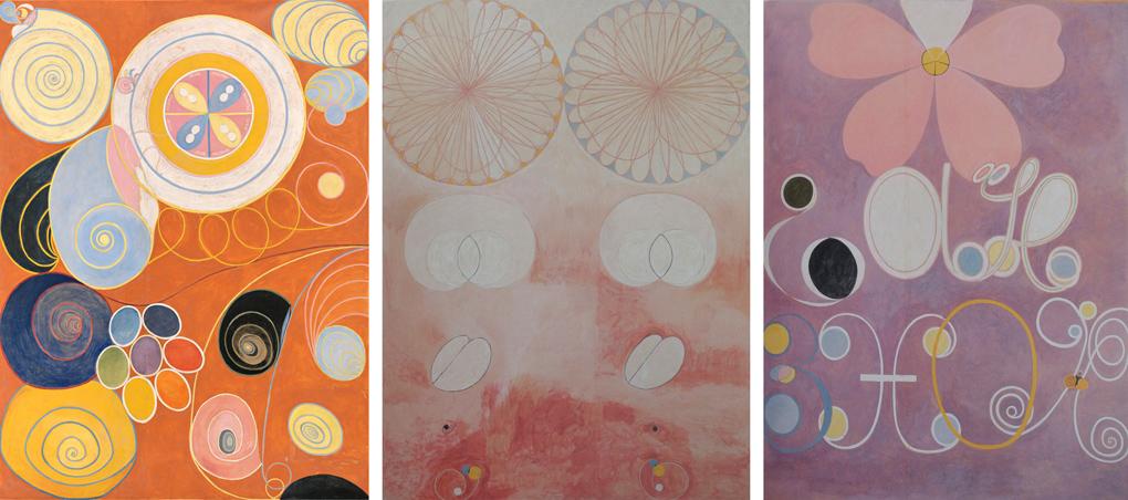 Tres pinturas de arte abstracto