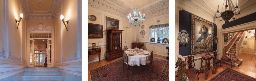 Triptikk av fotografier av det indre av huset med klassisk dekorasjon