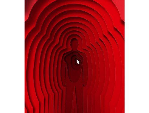 Rode kleurenafbeelding van man silhouetten