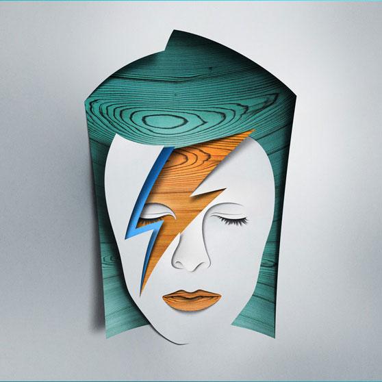 Composición de imágenes que retratan al cantante David Bowie