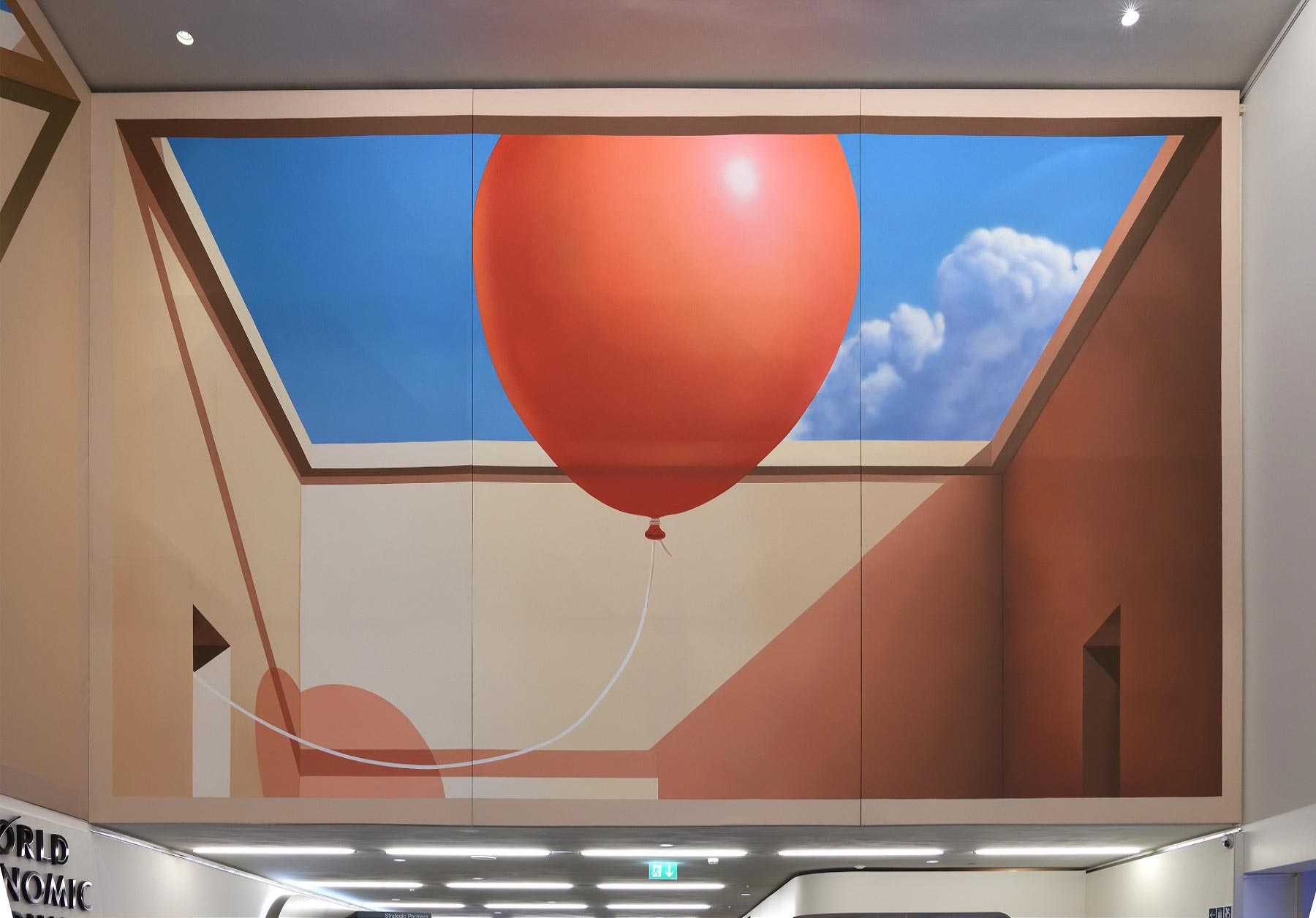 La artista Mehdi Ghadyanloo representa la esperanza con un globo rojo