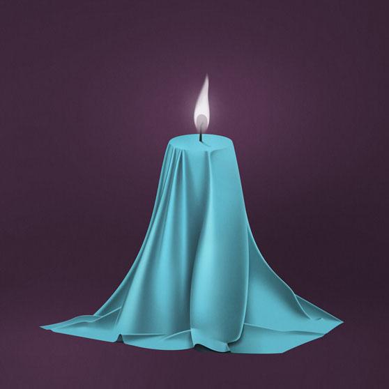 मिकीला बोरगिया द्वारा खींची गई नीली मोमबत्ती की तस्वीर