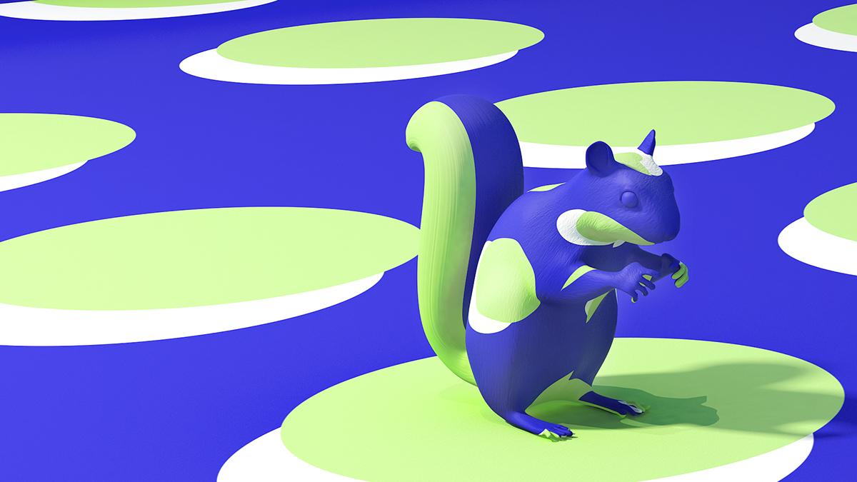 Figura dello scoiattolo coperta di vernice blu con verde