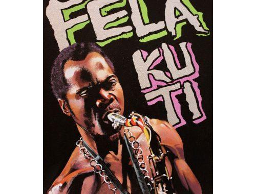Cartel de Fela Kuti con técnicas de collage e intervención.