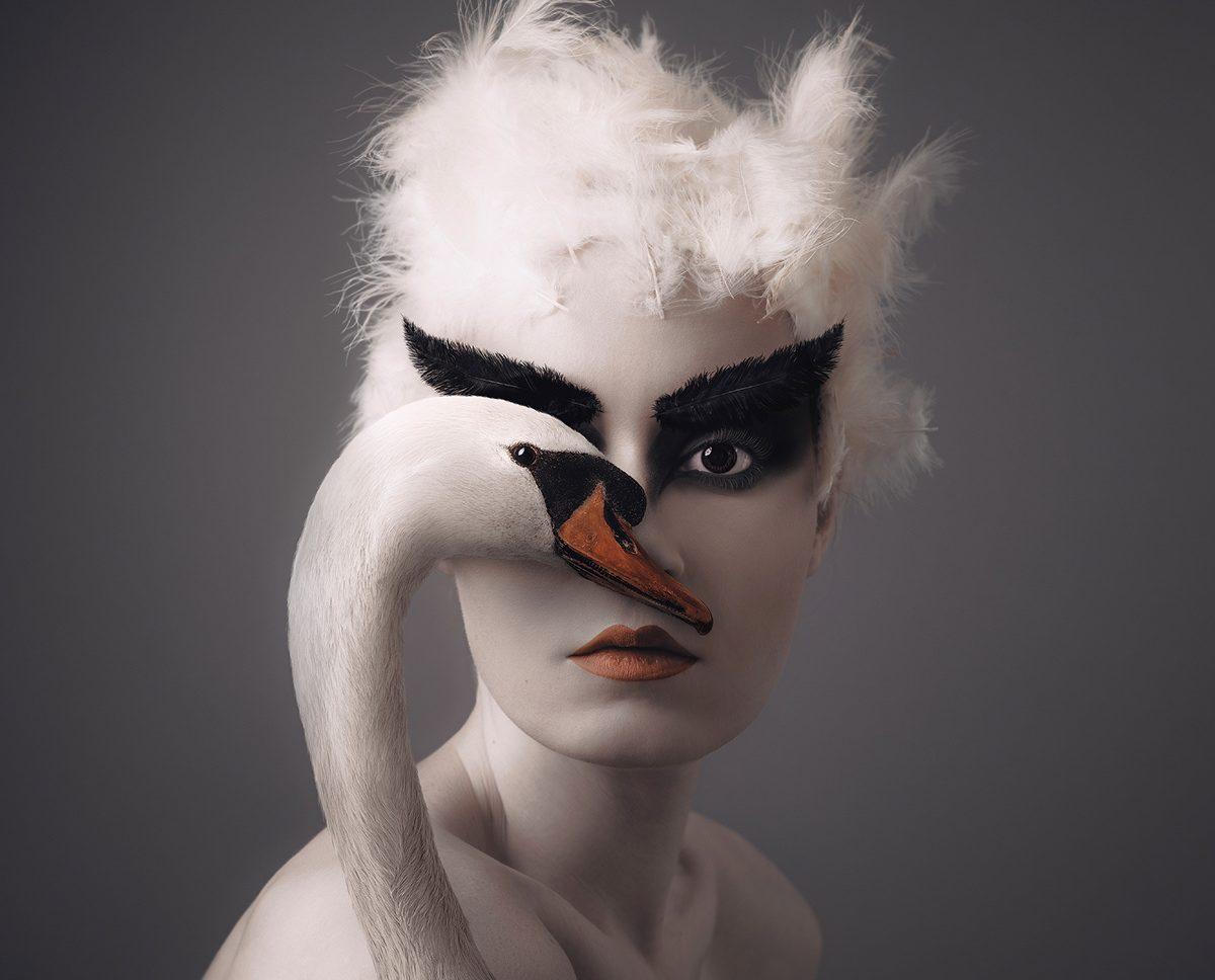 पोर्ट्रेट जो एक सफेद हंस की शुद्धता के साथ स्त्री रूप को जोड़ती है।
