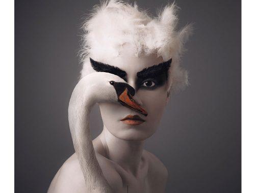 सफेद पंख वाले बालों वाली महिला का चित्रण