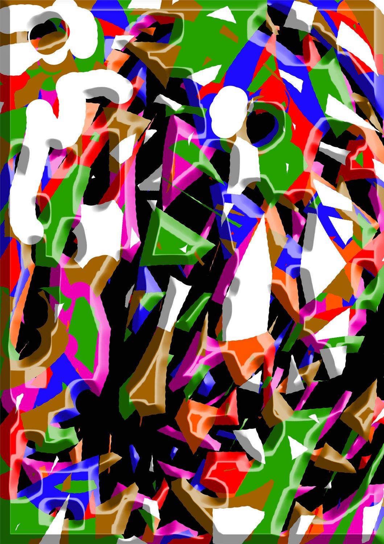 Las coloridas y multiformes figuras juegan constantemente en el interior de la obra de Giusseppe.