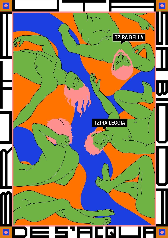Cartel de Pani que contextualiza la figura humana y el mar.