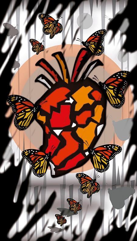 cuore con farfalle