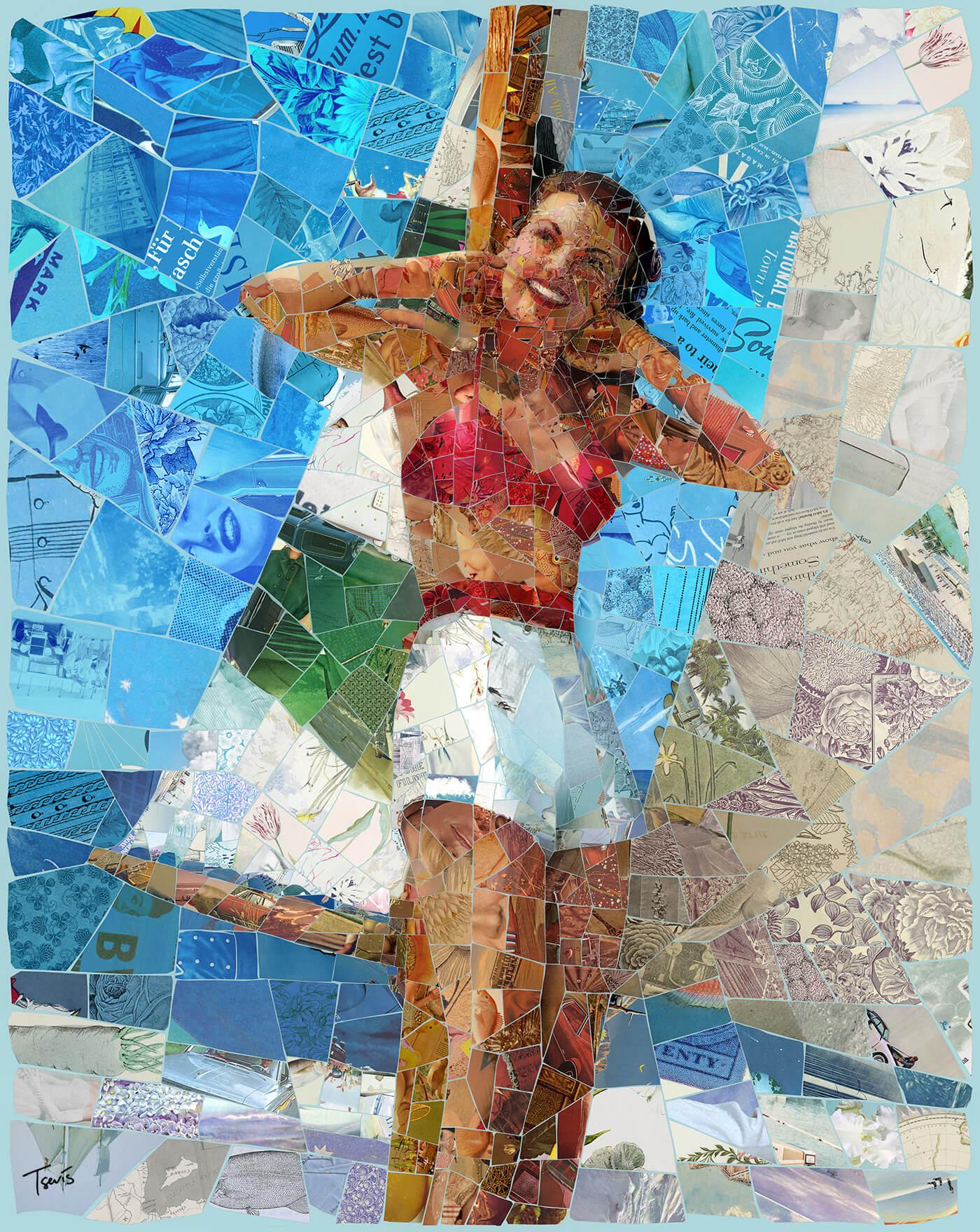 Donna sulla spiaggia con barca a vela