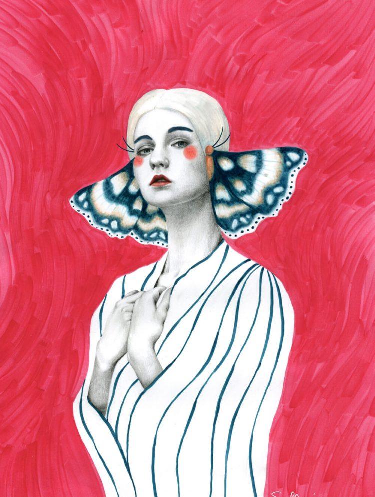 Illustratie in potlood en inkt met rode kleurenachtergrond.
