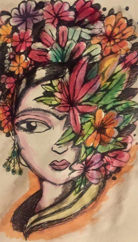 Volto di muejr con fiori