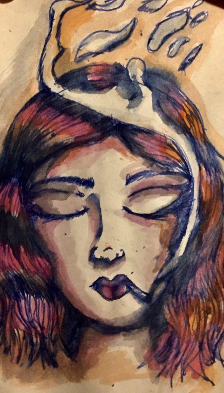 donna con gli occhi chiusi
