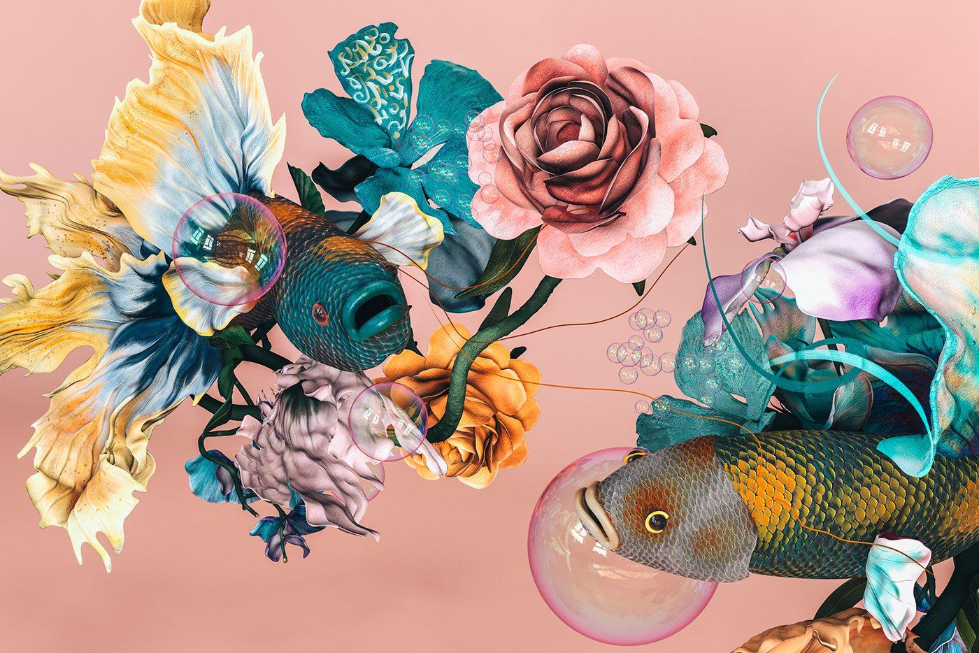 Ζευγάρι ψάρια betta με λουλούδια