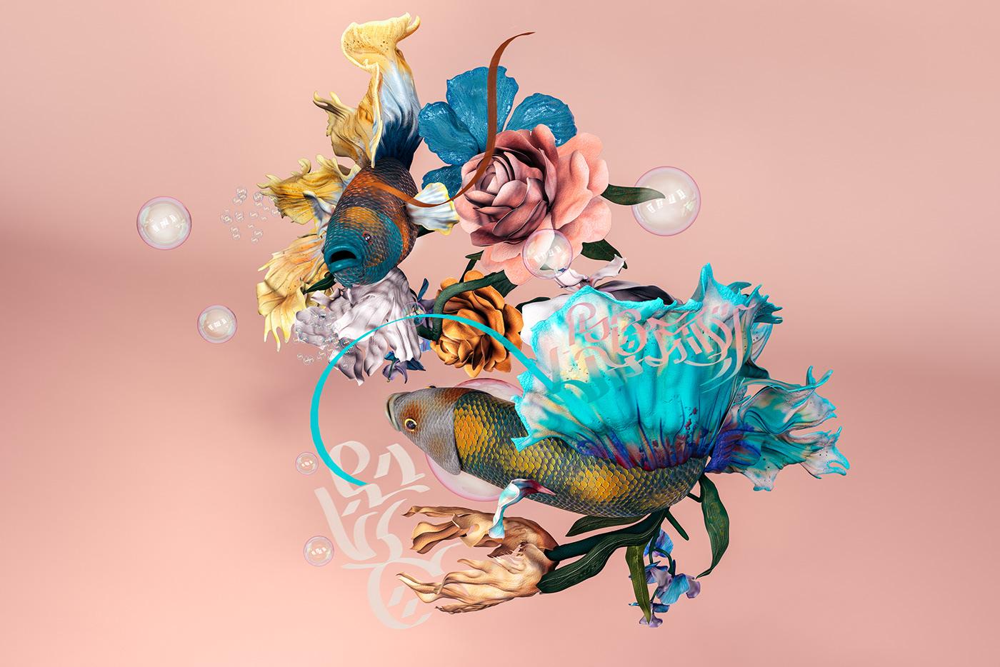 Betta ψάρια με λουλούδια