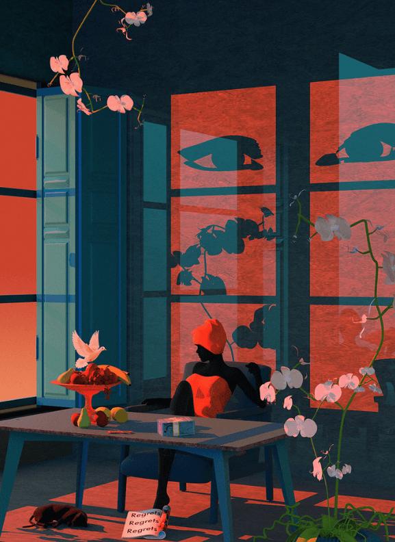ragazza guardando attraverso la finestra