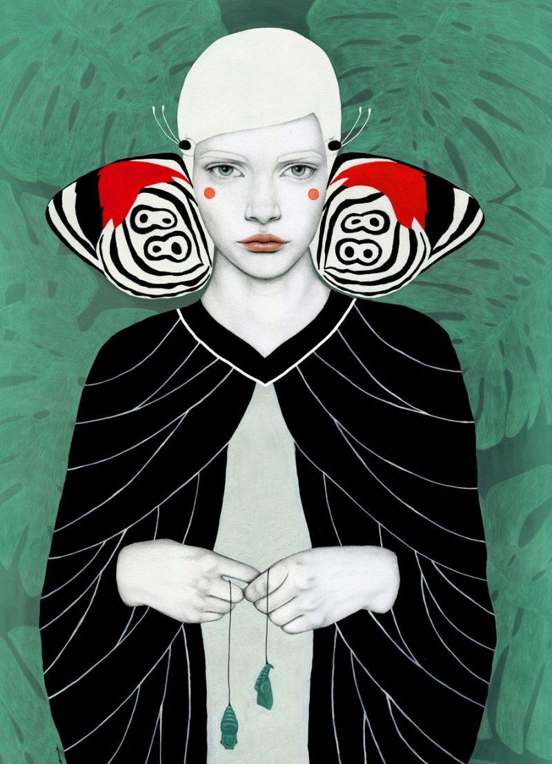 Tekening van vrouwelijke vlindervleugels van rode, groene, zwarte en witte tonen.