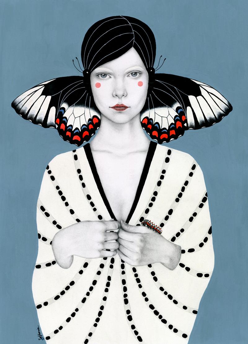 Vrouwelijke illustratie van blauwe waterverf, grafiet en inkt.