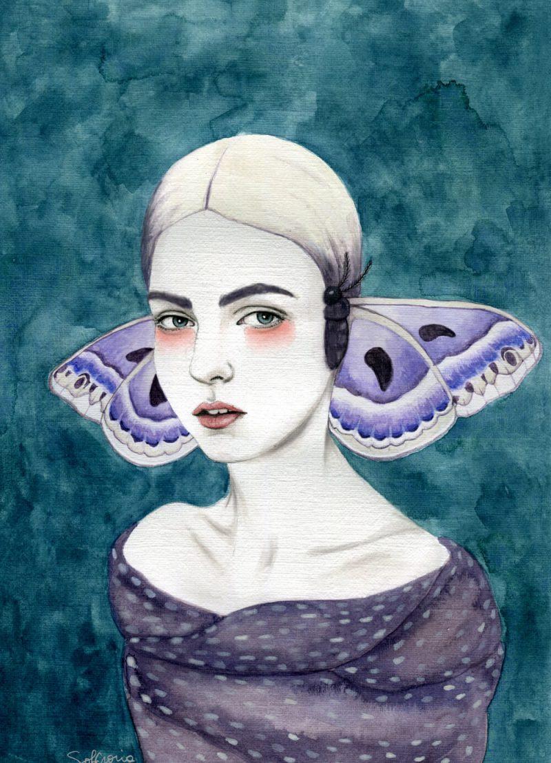 Vrouw vlinder van contrasterende tinten, gemaakt met waterverf en grafiet.