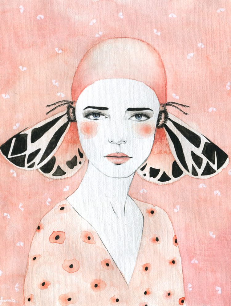 Illustratie van roze grafiet, inkt en waterverf.