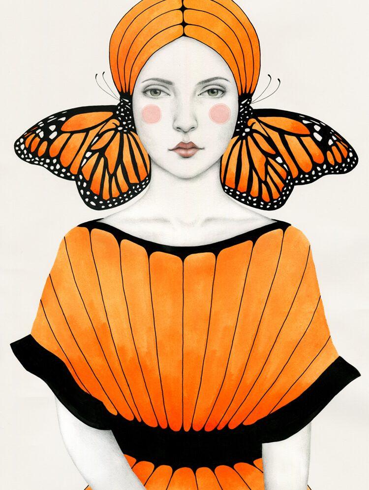 Illustratie van een surreal vlinder.