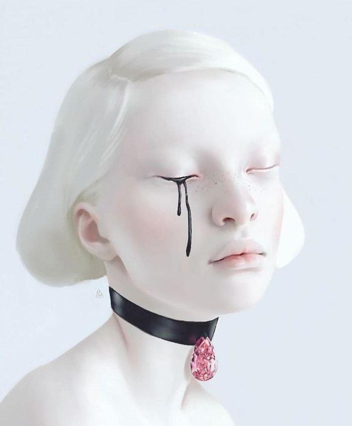 Busto de mujer blanca llorando