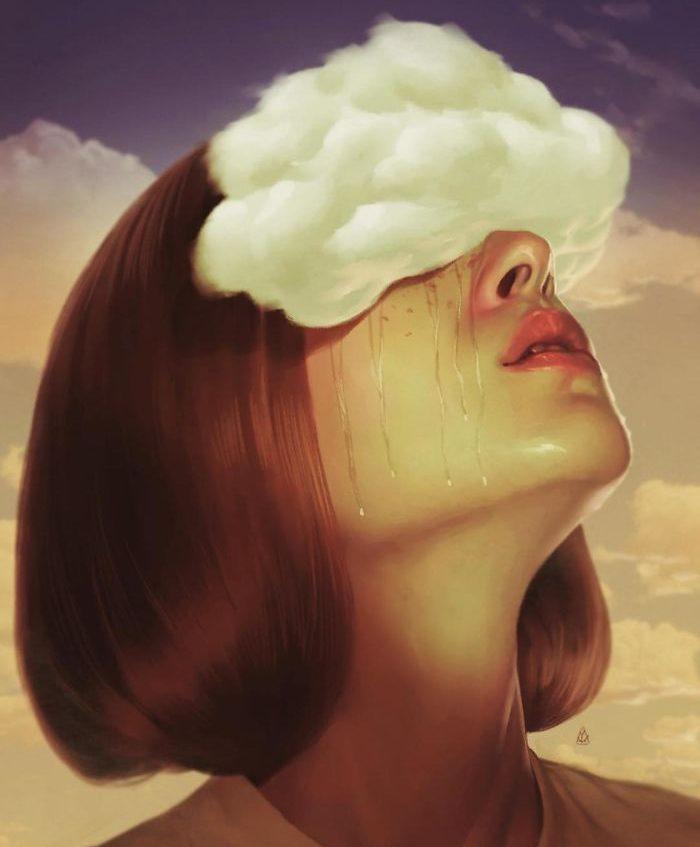 Chica con nube llorando
