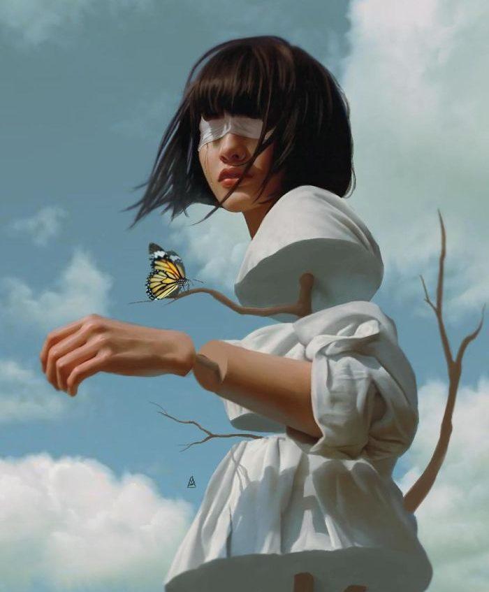 chica fragmentada con viento