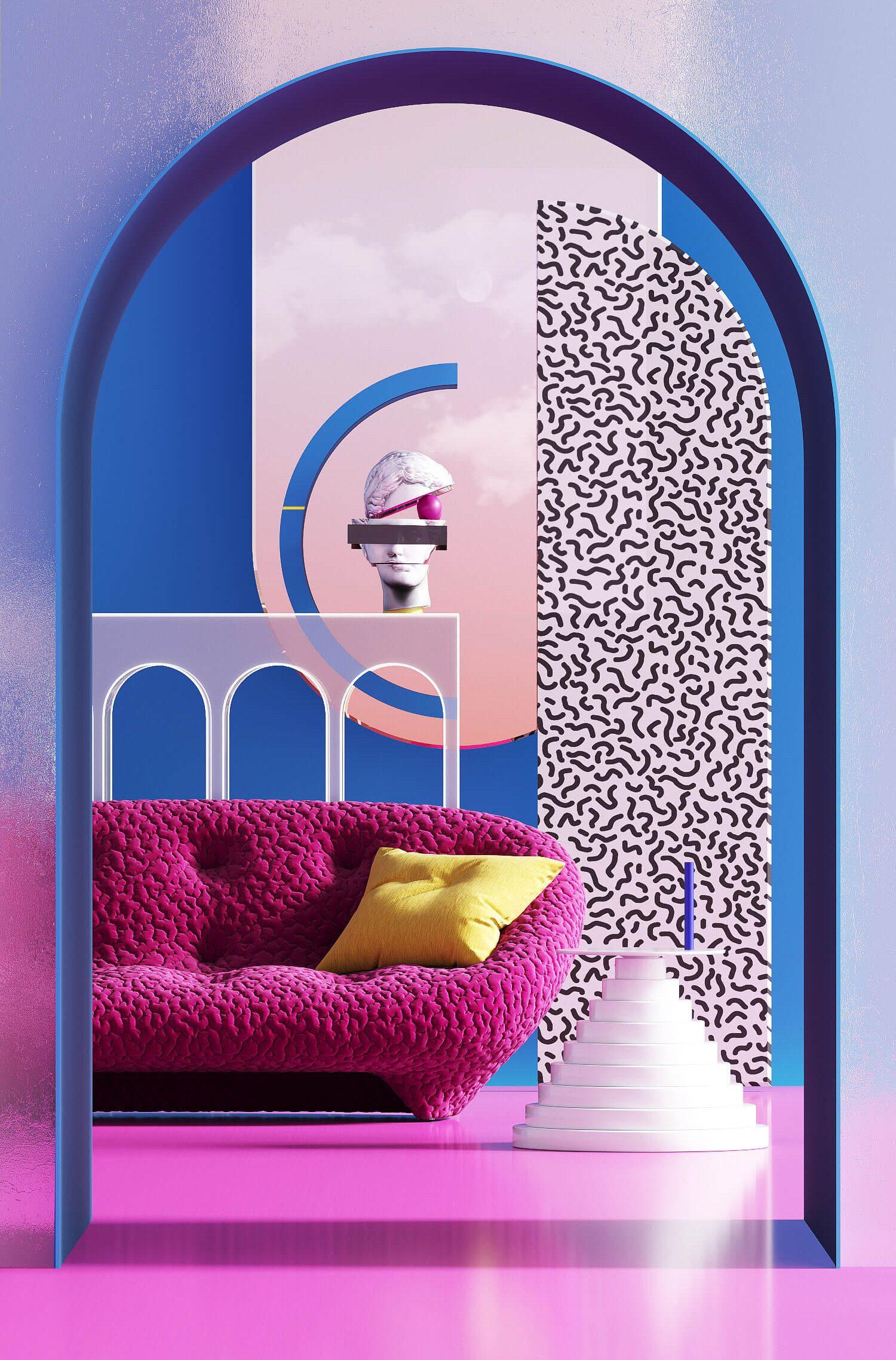 stanza con specchio