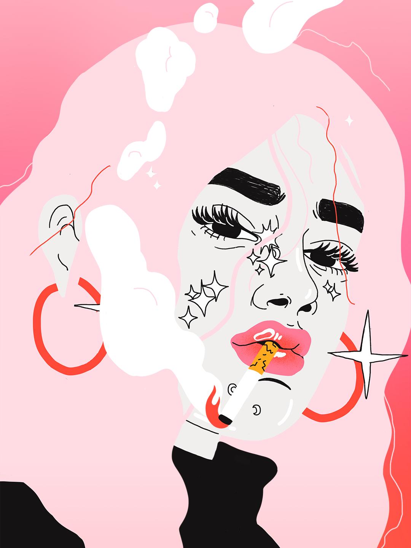 Jente røyking