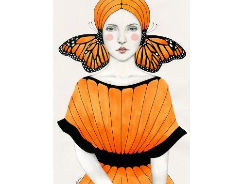Illustratie van inkt, grafiet en oranje waterverf.