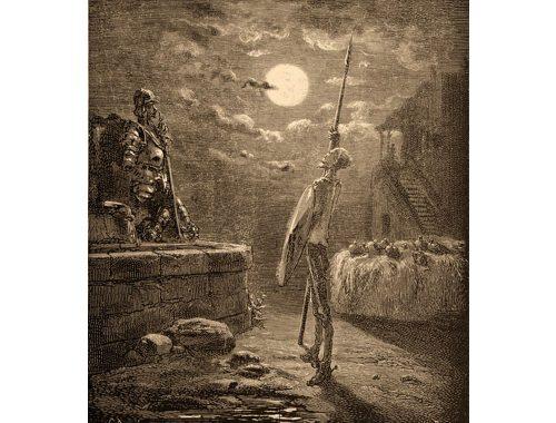 Antikk illustrasjon av Don Quixote de la Mancha